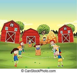 mező, játék, játék, gyerekek