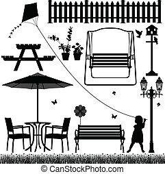 mező, külső, liget, udvar, kert