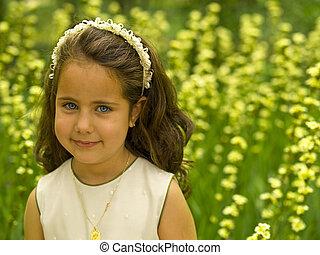 mező, kevés, virág lány