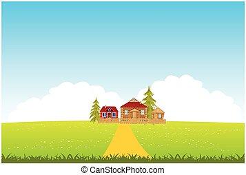 mező, kitakarít, falu