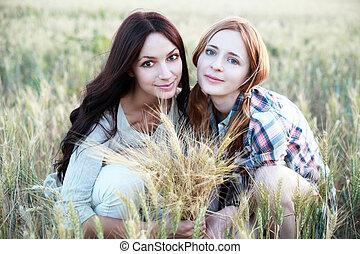 mező, lány, két