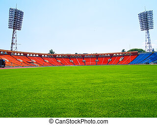 mező, labdarúgás, üres, stadion