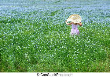 mező, leány, virág, fiatal