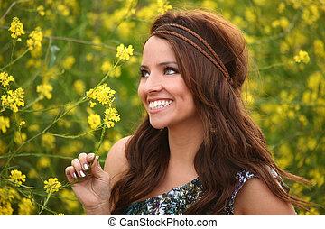 mező, leány, virág, meglehetősen