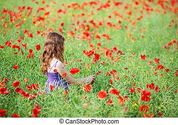 mező, leány, virág
