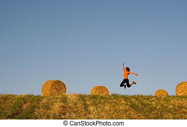 mező, nő, bajok, ugrás, széna