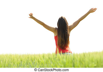 mező, nő, fegyver, emelés, boldog