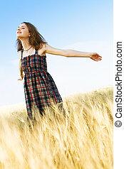 mező, nő, tarka, ruha, beautfiul