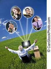 mező, számítógép, zöld, hálózat, üzletember