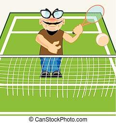 mező, tenisz, ember