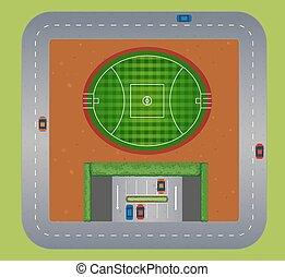 mező, tető, labdarúgás, kilátás