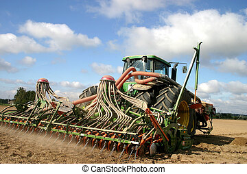mező, traktor, dolgozó