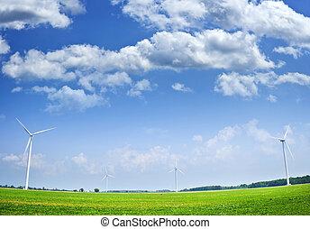 mező, turbines, felteker