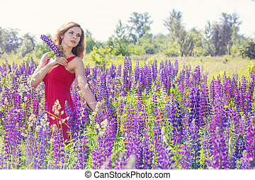mező, woman portré