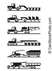 mezőgazdasági, állhatatos, gépezet, ikon