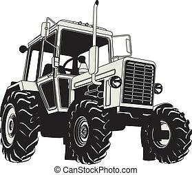 mezőgazdasági, vektor, árnykép, traktor
