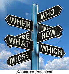 mi, útjelző tábla, amikor, kutatás, ötletvihar, zűrzavar, hol, mi okból, látszik