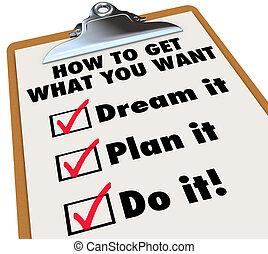 mi, beszerez, ideiglenes katalógus, azt, hogyan, csipeszes írótábla, terv, hiány, ön, álmodik