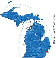 michigan, politikai, térkép, állam