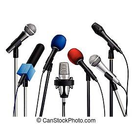 microphones, sajtó, állhatatos, tanácskozás