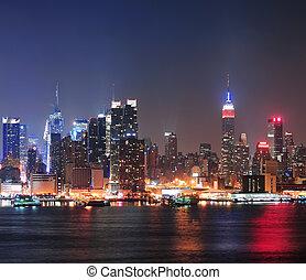 midtown manhattan, láthatár, város, york, új