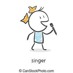 mikrofon, éneklés, leány, karikatúra