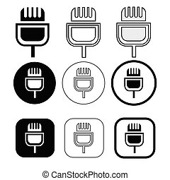 mikrofon, egyszerű, aláír, tervezés, ikon