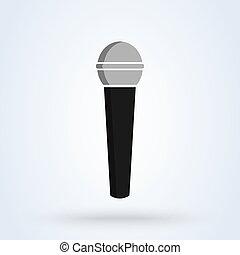 mikrofon, modern, vektor, tervezés, illustration., ikon, egyszerű