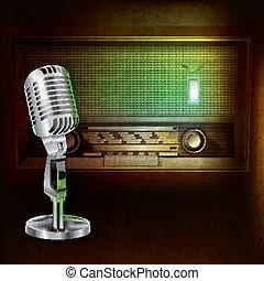 mikrofon, rádió, elvont, háttér, retro