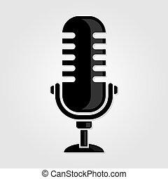 mikrofon, szüret, ábra, vektor, icon., retro