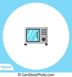mikrohullám, vektor, aláír, jelkép, ikon, lakás