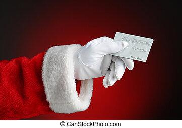 mikulás, kéz, hitel, birtok, kártya
