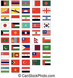 minden, állhatatos, lobogó, countries., ázsiai