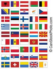 minden, állhatatos, lobogó, countries., európai