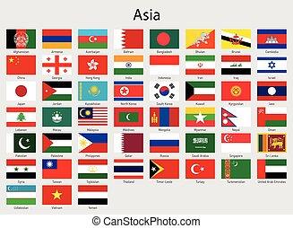 minden, országok, lobogó, ázsiai, zászlók, ázsia, állhatatos