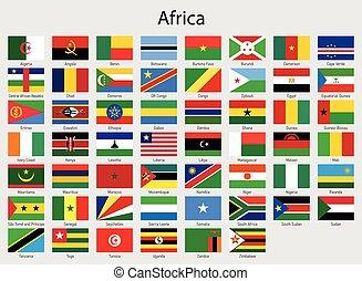 minden, országok, lobogó, zászlók, afrika, afrikai, állhatatos