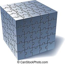 minden, rejtvény, lombfűrész, együtt, alkatrészek, cube.