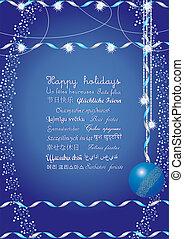 minden, sok, felett, nyelvek, ábra, ünnepek, vektor, felfog, elküld, ők, azt, világ, üzenet, boldog, barátok, -e, köszöntések