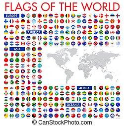 minden, vecto, nemzeti, hivatalos, zászlók, kör alakú, world., design.