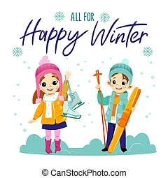 minden, winter., concept., síelés, leány, fiú, korcsolyázó, tél, boldog