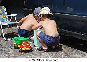 mindenfelé, autó, gyerekek, takarítás, summertime idő, játék