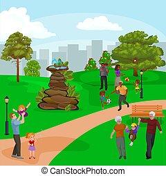 mindenfelé, család, emberek, vízesés, liget, lány, szünidő, ábra, játék, fiú, vektor, szabadban, boldog, szökőkút, kényelmes, kert