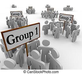 mindenfelé, emberek, összegyűjtött, alakzat, cégtábla, különféle, gyűlés