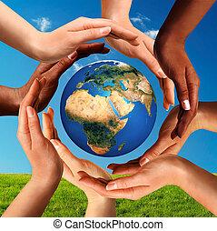mindenfelé, földgolyó, együtt, sok nemzetiségű, kézbesít, világ