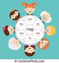 mindenfelé, holiday., pesah, nagy, zsidó húsvét, család, hebrew., boldog, tányér