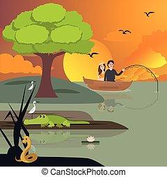 mindenfelé, párosít, tó, fishing., krokodil, kígyó