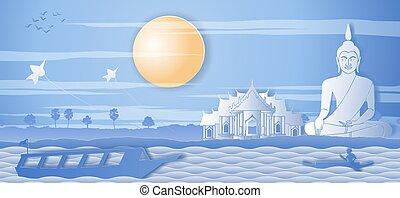mindenfelé, természet, kelet, csónakázik, halánték, életmód, vidéki táj, buddha, evezés, thai ember