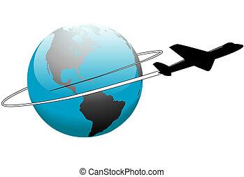 mindenfelé, utazás, légitársaság, földdel feltölt, világ, repülőgép