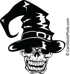 mindenszentek napjának előestéje, koponya, kalap