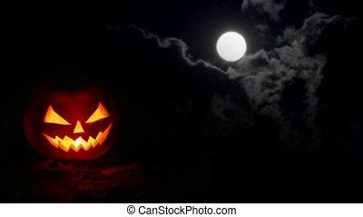 mindenszentek napjának előestéje, sütőtök, éjszaka, elhomályosul, hold